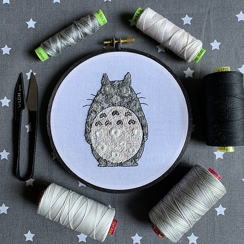 "Floral Pop Totoro Original 5"" Embroidery Art"