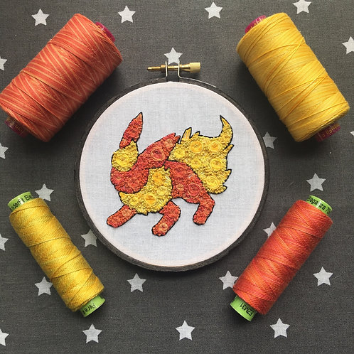 "Floral Pop Flareon Original 4"" Embroidery Art"
