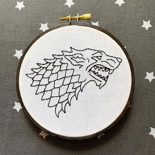 "Direwolf 4"" Original Embroidery"