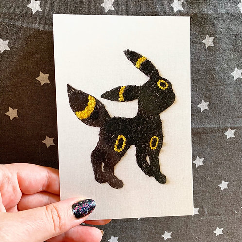 Floral Pop Umbreon 4x6 Embroidery Print