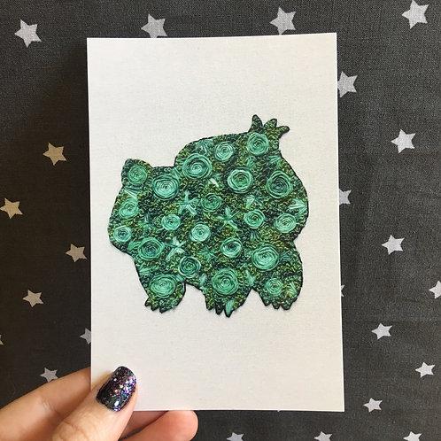 Floral Pop Bulbasaur 4x6 Embroidery Print