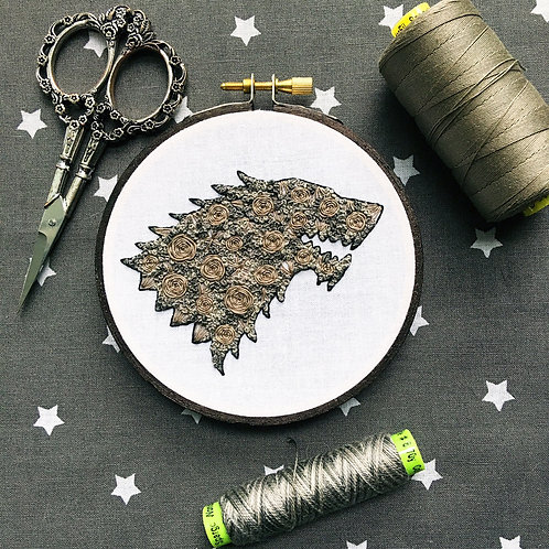 "Floral Pop Direwolf Original 4"" Embroidery Art"