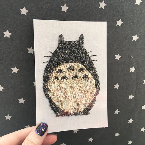 Floral Pop Totoro 4x6 Embroidery Print