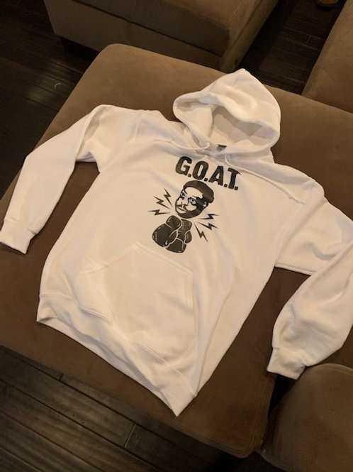 OFFICIAL G.O.A.T.  WHITE HOODED SWEATSHIRT