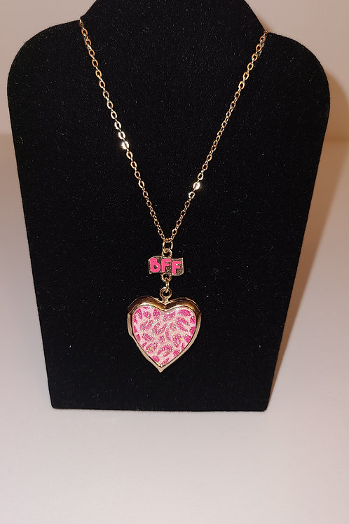 BFF Pink Love Heart  Necklace