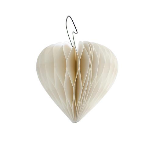 White Heart Ornament with Silver Glitter Edge