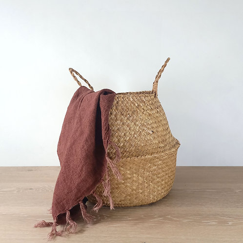 Red Clay Linen Throw