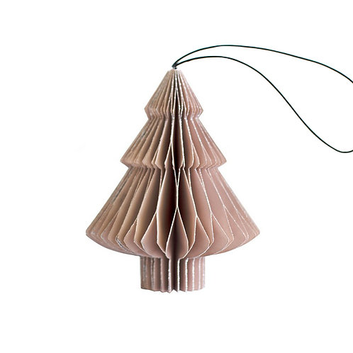 Dusty Rose Tree Ornament with Silver Glitter Edge