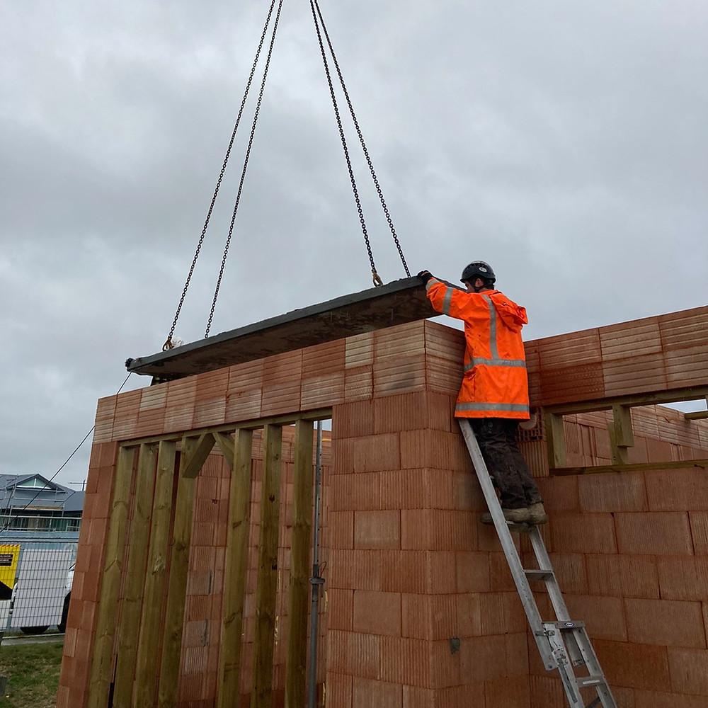 Pre stressed panels, construction, architecture, porotherm block, high vis, crane hire