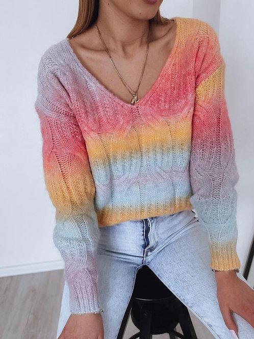 Rainbow V Neck Top