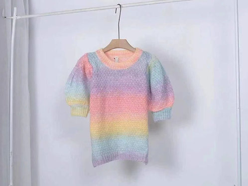 Rainbow Puffed Sleeve Top