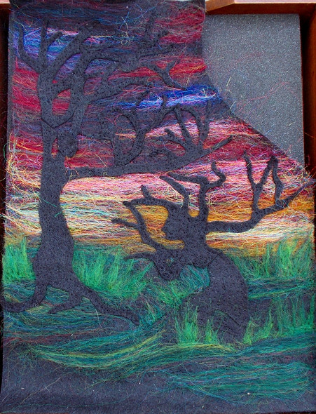 'Dryad Sunset' (in progress) Fiber Art