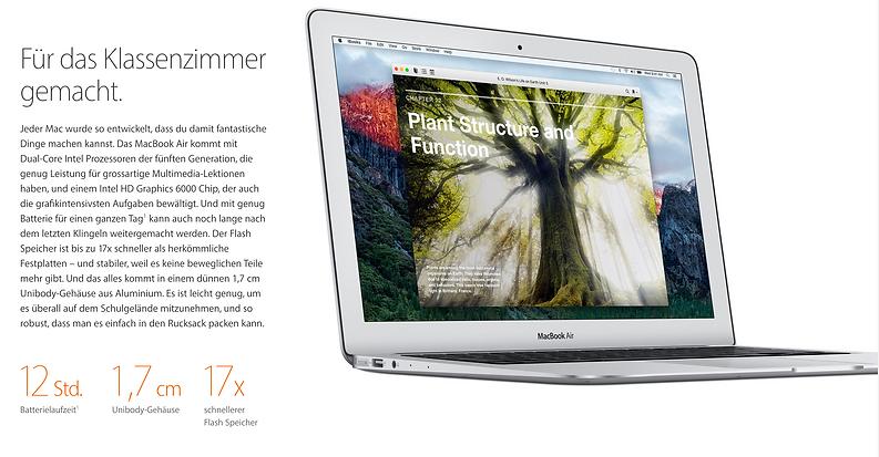 """Das Apple MacBook Air 13"""" is im schulischen Umfeld sehr verbreitet"""