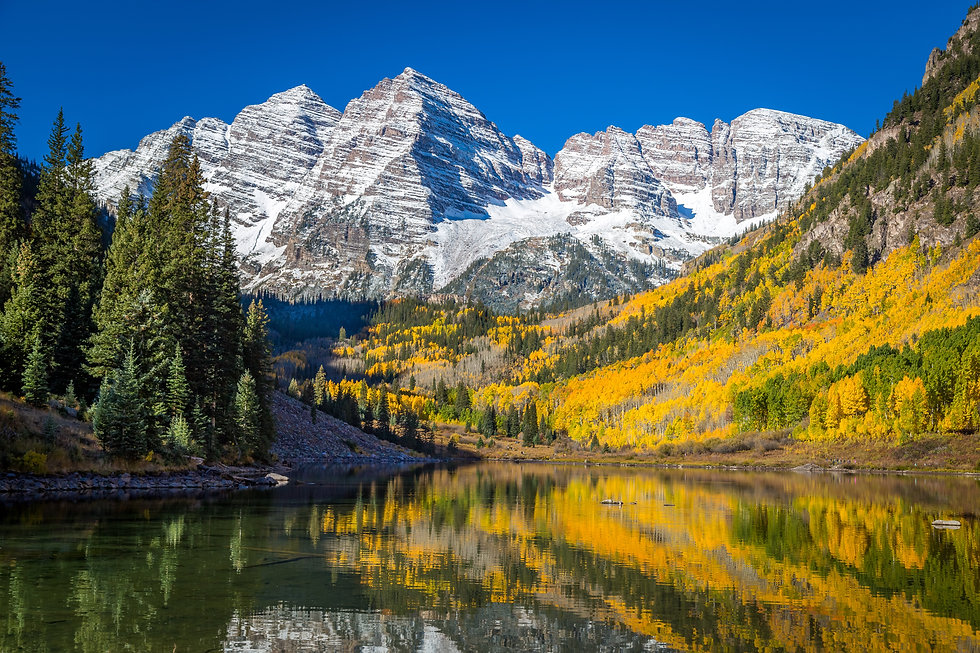 Maroon Bells Surrounded by Fall Colors.j