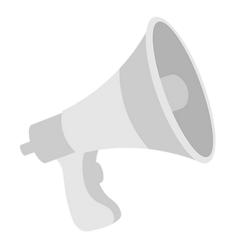 Faded Politalk Logo. A bullhorn poised at an angle. Grey and white.