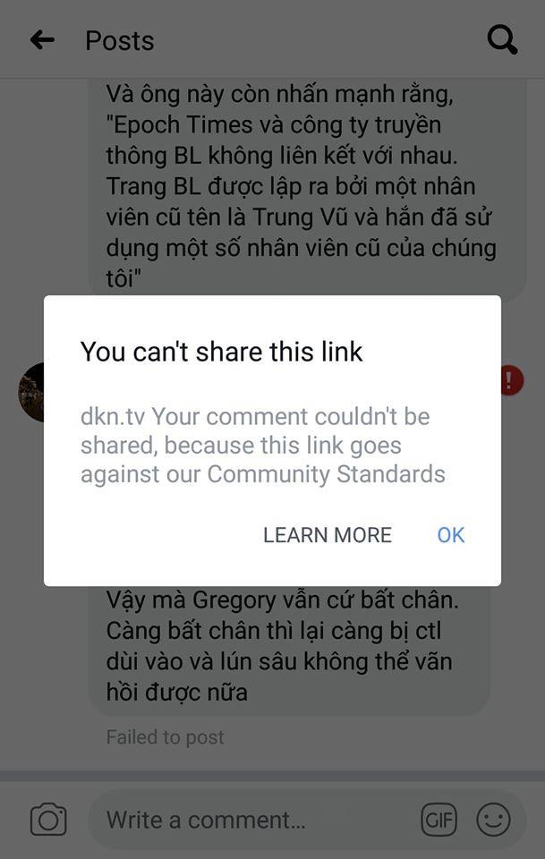Trang DKN.TV của Vũ Đức Trung giờ đã bị Facebook cấm hẳn không cho đăng tải dưới bất kỳ hình thức nào, kể cả share bài hay dẫn link trực tiếp.