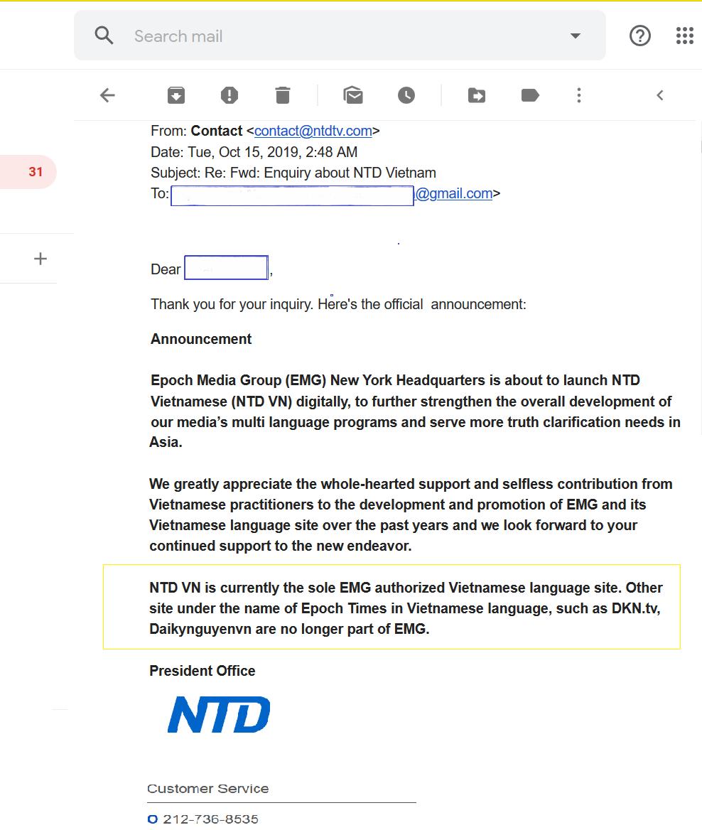Email thông báo chính thức DKN.TV/Daikynguyenvn.com của Vũ Đức Trung đã chính thức bị xóa tên ra khỏi hệ thống của EMG