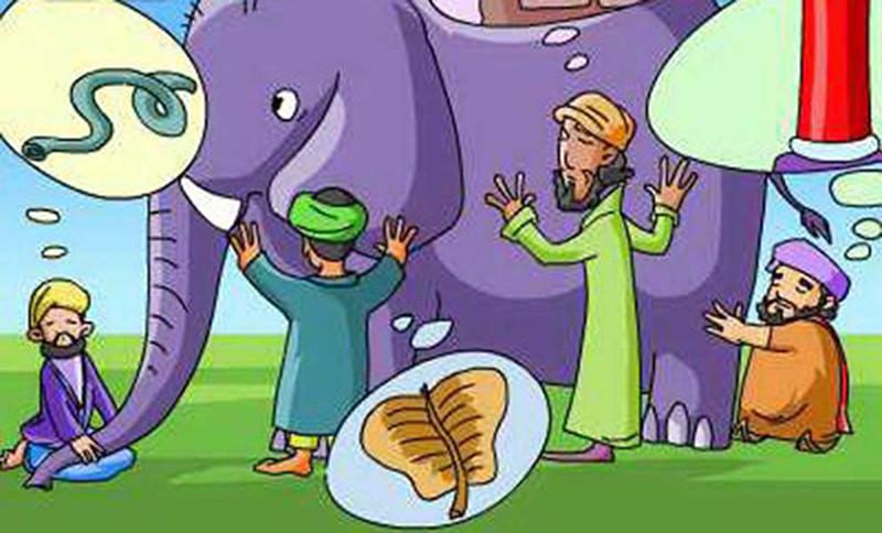 Nếu tâm chấp trước được ví dụ là con voi, thì việc người tu không thừa nhận mình có chấp trước cũng tựa như người mù cho rằng họ chỉ sờ thấy cái cột nhà, cái lá chuối hay con rắn vậy.