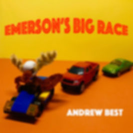 Emerson the moose driving a racecar