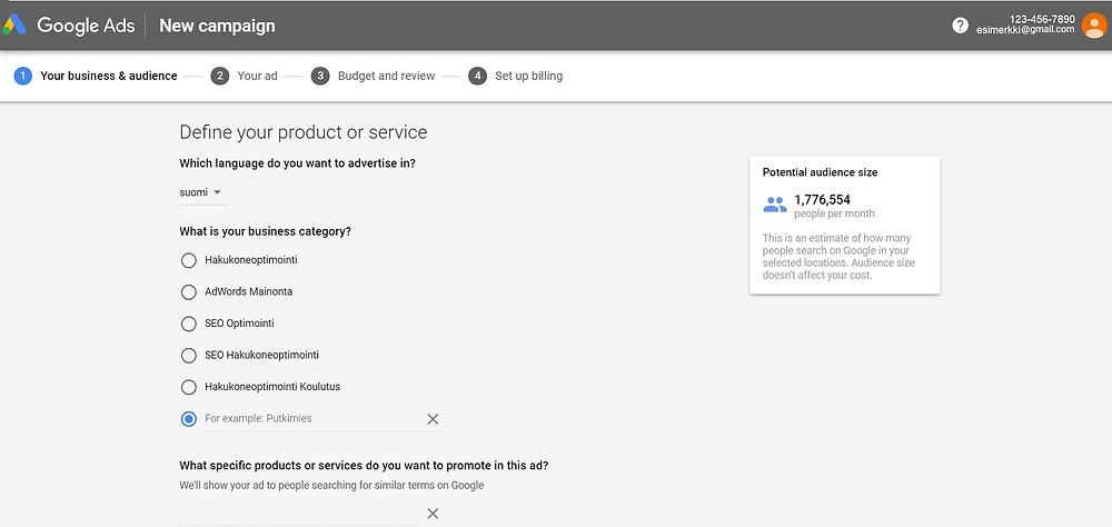 Google Ads älykkään kampanjan yleisö