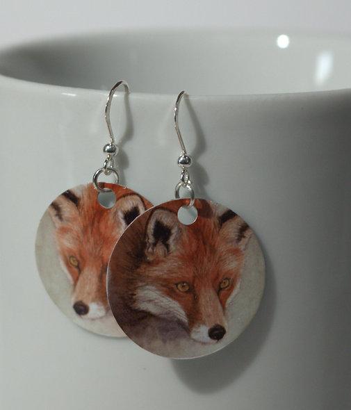 Fox earrings from watercolour
