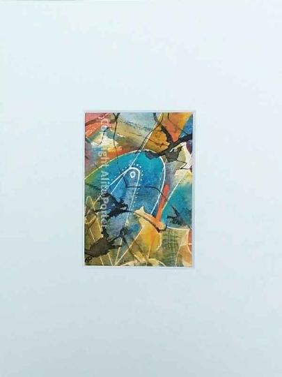 "Original, miniature, abstract, watercolour painting, ""Mini No. 4"""