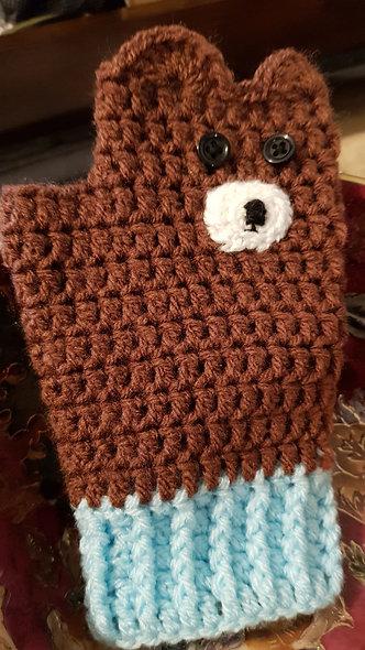 Cute crochet teddy bear mitts, adult size