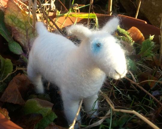 Needlefelted lamb, art doll