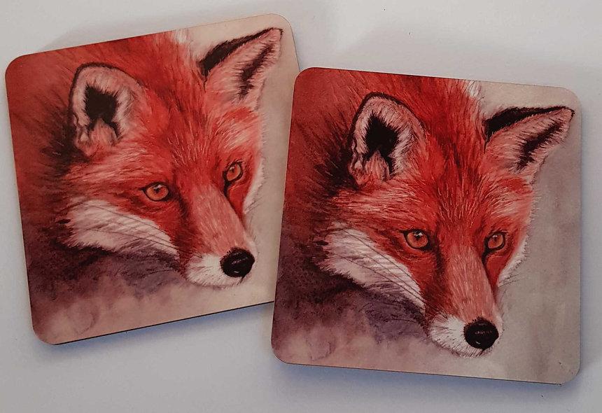 Watercolour fox coaster