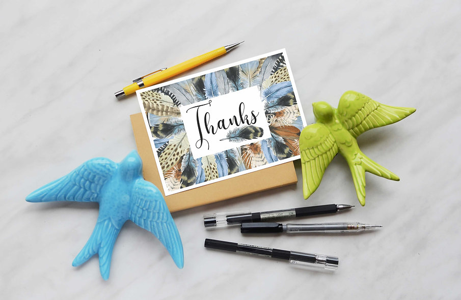 """""""Thank You"""" postcard, with envelope"""