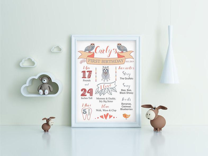 Digital Woodland Baby Birthday Poster - Customisable