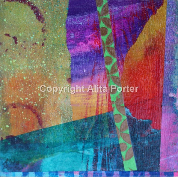 Small abstract collage on wooden panel SOLD