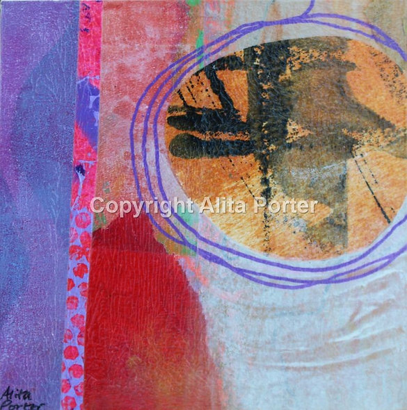 """Small collage on wooden panel """"Ickle 5"""""""