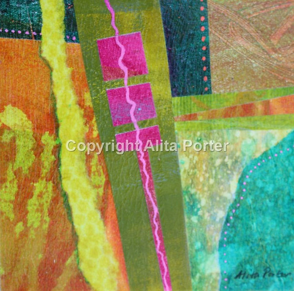 """Small abstract collage on wooden panel, """"Ickle 4"""""""