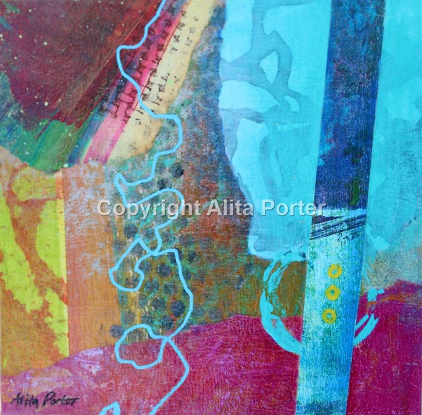"""Small abstract collage on wooden panel, """"Ickle 7"""""""
