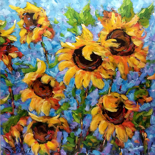 Feel The Warmth Sunflower - Acrylic Painting - Free Shipping
