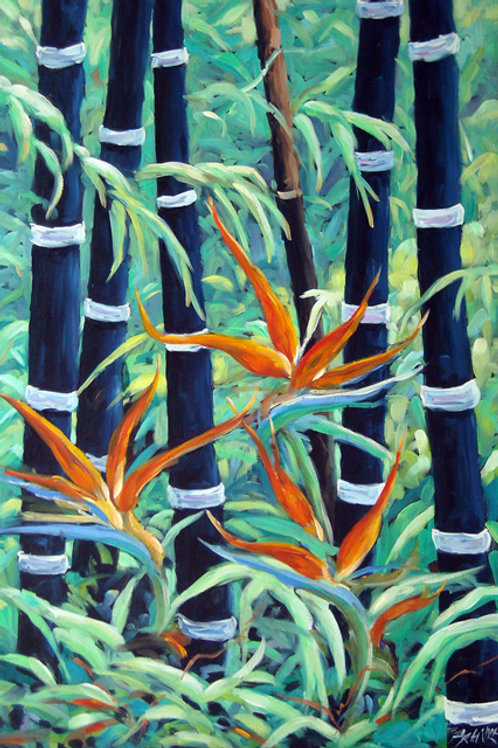 Abstract Bamboo and Birds of Paradise 04