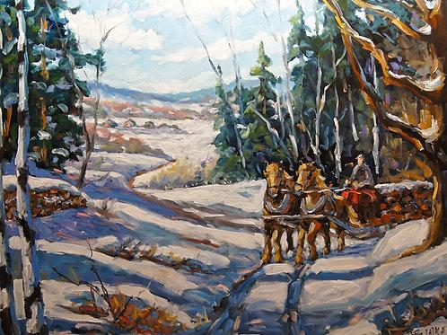 Winter Scene Loggers Horses