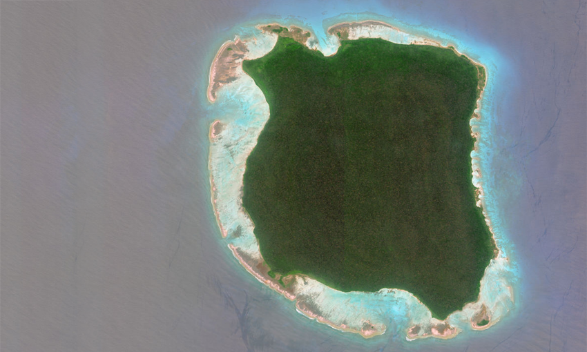 An aerial photograph of North Sentinel Island is one of the Andaman Islands, an archipelago in the Bay of Bengal