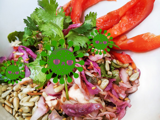 "Ginger Cabbage (Asian?) Coleslaw with Peanut-Sesame Vinaigrette: closest thing to a ""viral cure"""