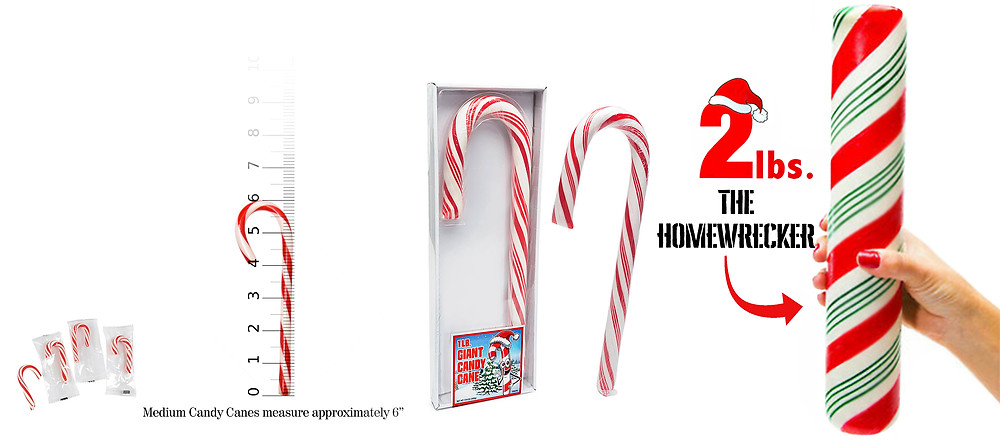An array of popular candy cane sizes; pointlessly small to homewrecker.