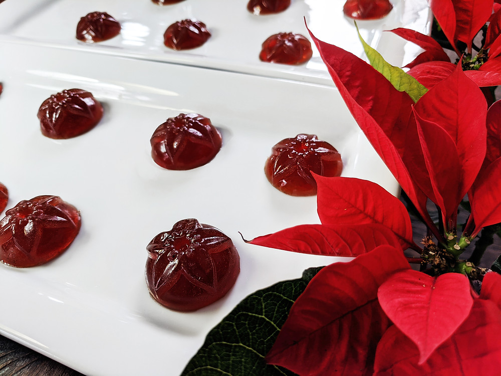 Domed shaped gummy candies with a flower deboss in a neat grid on white plates, flanked by a noche buena plant. Gometas de Ponche, photo by Tim @ Pinchido