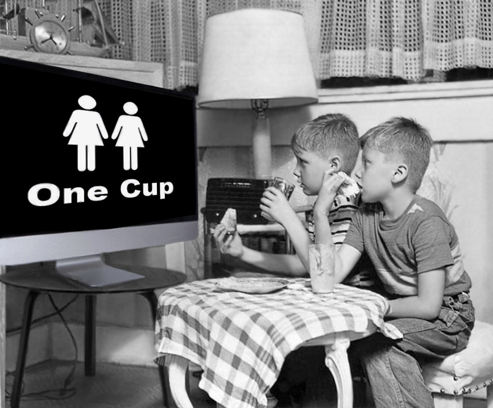 In a modern take on the TV dinner, two innocent kids don't even know to brace themselves for the video their about to see: Two Girls One Cup.