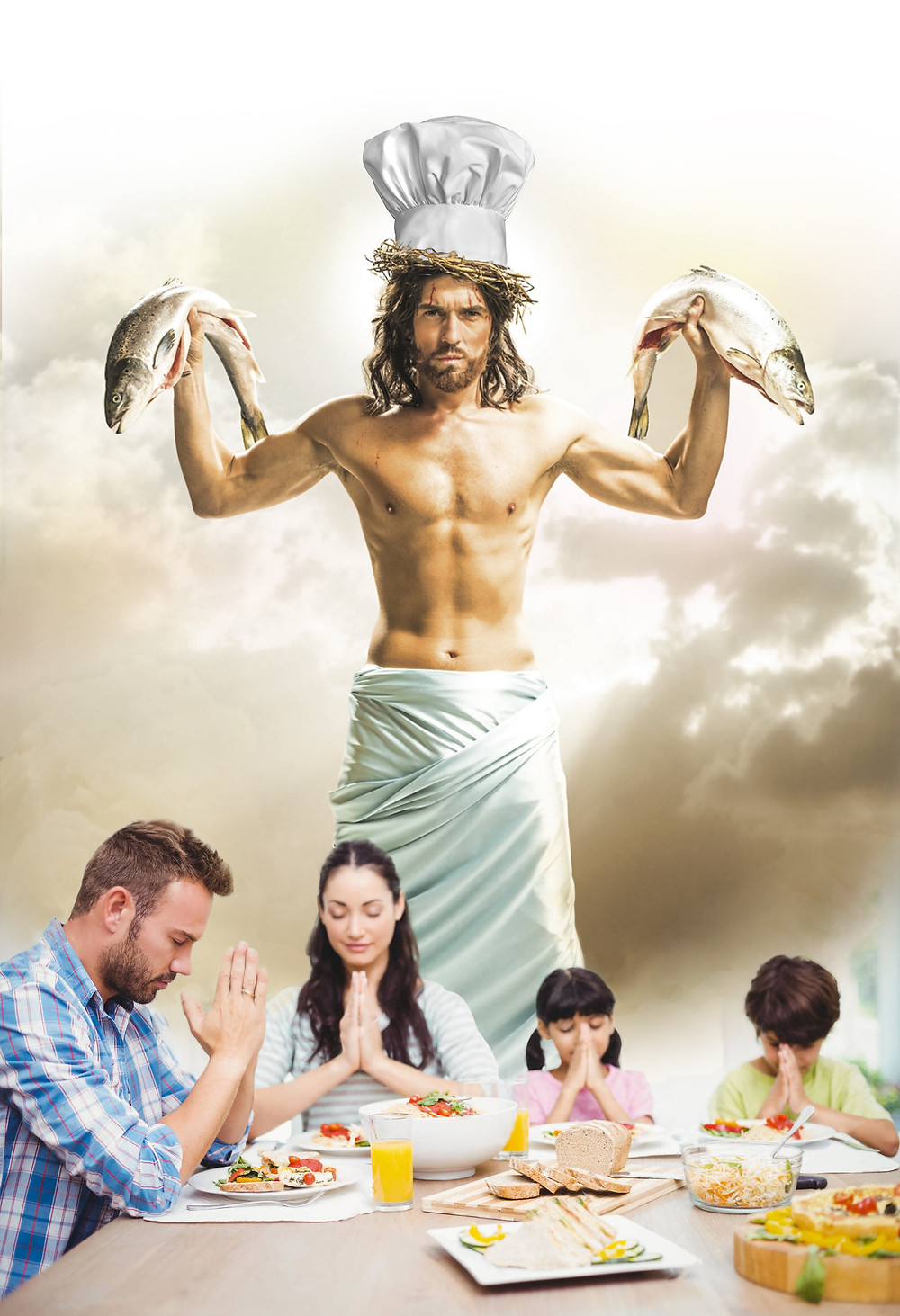 An unbelievably sexy depiction of Jesus holding two dead fish, appearing over a family who has just prayed in their nutrient request.