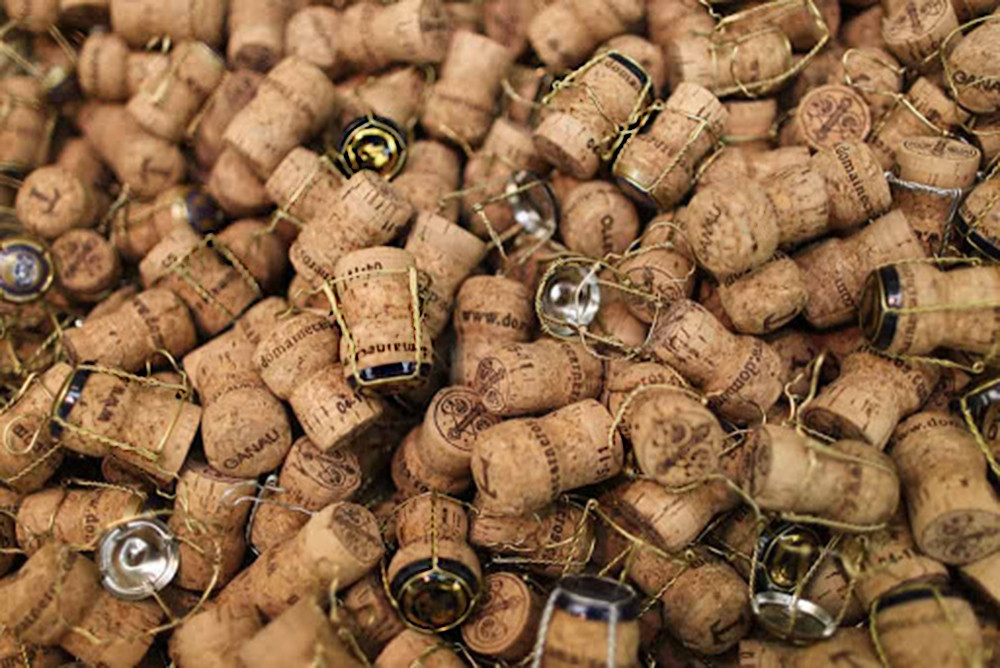 A pile of Champagne corks.