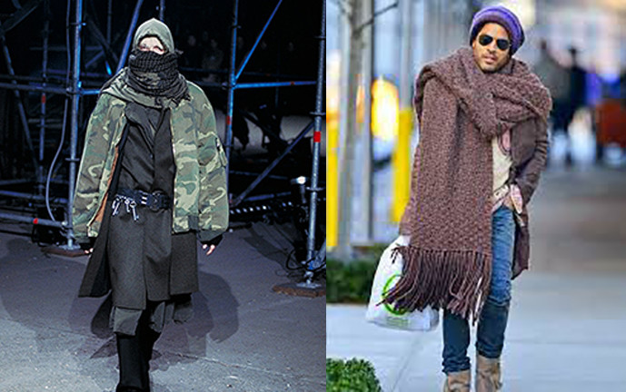 Two examples of oversized knit scarves to illustrate my above non-real point.