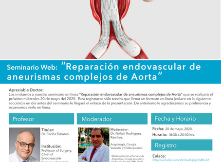 [Seminario en línea] Reparación endovascular de aneurismas complejos de aorta. 20/05