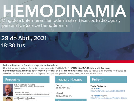 [Seminario] HEMODINAMIA. Dirigido a Enfermeras Hemodinamistas, Técnicos Radiólogos y personal...
