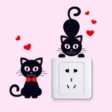 2 Katzen Wandtattoos   Katzen Schalter Aufkleber
