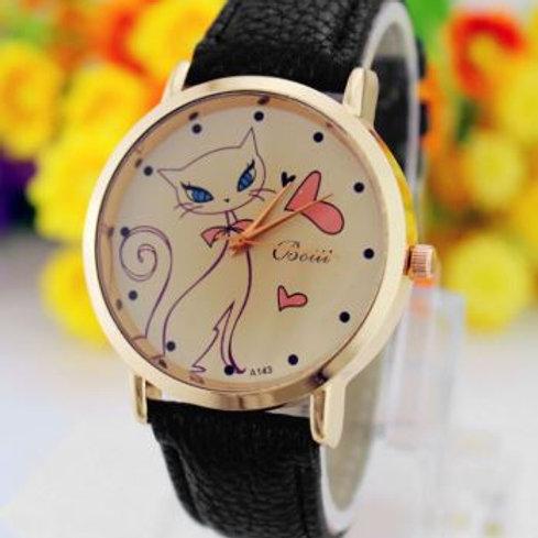 Damen Armbanduhr mit Katze und Herz